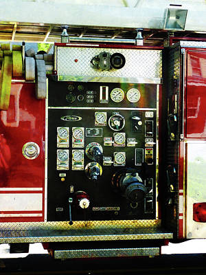 Fireman - Gauges On Fire Truck Poster by Susan Savad