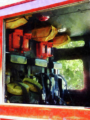 Fireman - Inside The Fire Truck Poster by Susan Savad