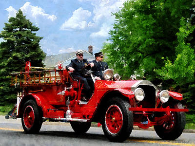 Fireman - Old Fashioned Fire Engine Poster by Susan Savad