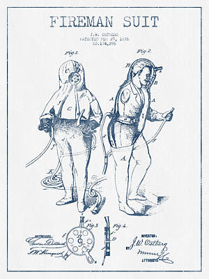 Fireman Suit Patent Drawing From 1826- Blue Ink Poster