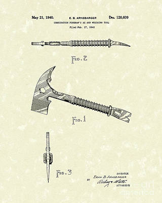 Fireman's Axe 1940 Patent Art Poster by Prior Art Design