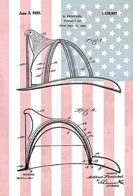 Fireman's Helmet American Flag Poster