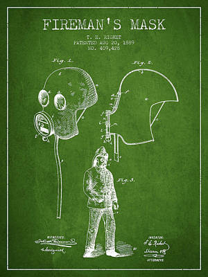 Firemans Mask Patent From 1889 - Green Poster by Aged Pixel