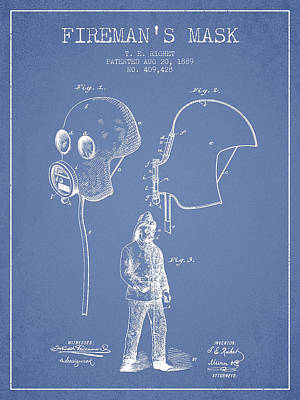 Firemans Mask Patent From 1889 - Light Blue Poster by Aged Pixel