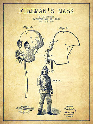 Firemans Mask Patent From 1889 - Vintage Poster