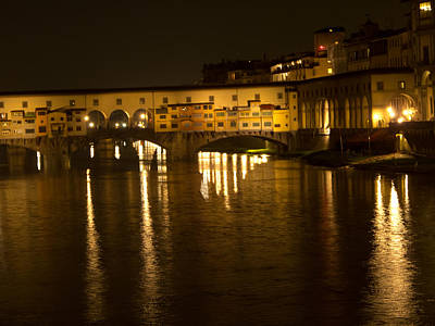 Firenza Florence Italy Ponte Vecchio At Night Poster by David Coblitz