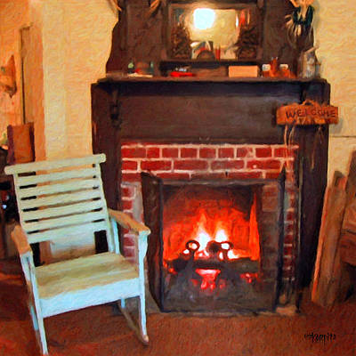 The Family Hearth - Fireplace Old Rocking Chair Poster by Rebecca Korpita