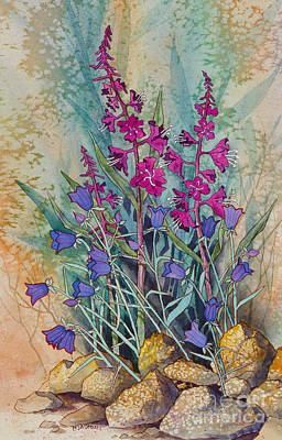 Fireweed And Bluebells Poster