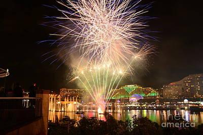 Fireworks Glow At Vivid Aquatique 2014 By Kaye Menner Poster by Kaye Menner