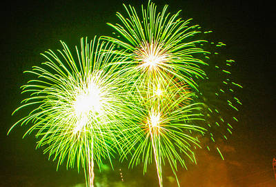 Fireworks Green And White Poster by Robert Hebert