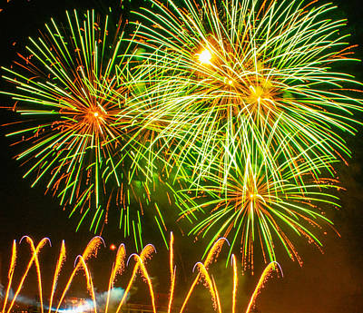Fireworks Green And Yellow Poster by Robert Hebert