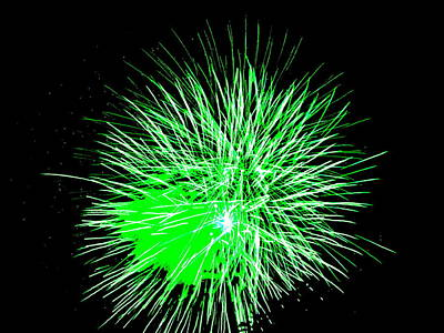 Fireworks In Green Poster by Michael Porchik