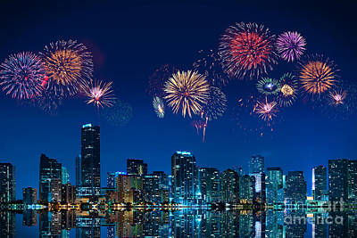 Poster featuring the photograph Fireworks In Miami by Carsten Reisinger