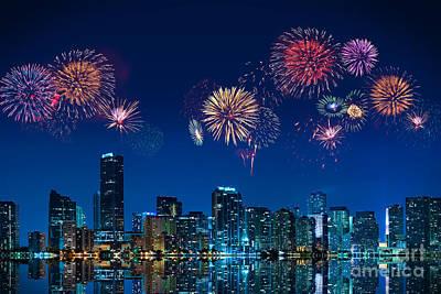 Fireworks In Miami Poster by Carsten Reisinger