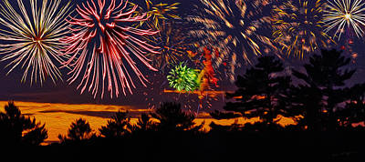 Poster featuring the photograph Fireworks No.1 by Mark Myhaver
