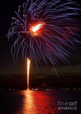 Fireworks Over Lake Poster