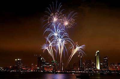 Fireworks Over San Diego Skyline Poster by Jetson Nguyen