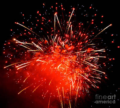 Fireworks Red Poster