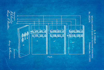Firman Telephone Exchange Patent Art 1882 Blueprint Poster