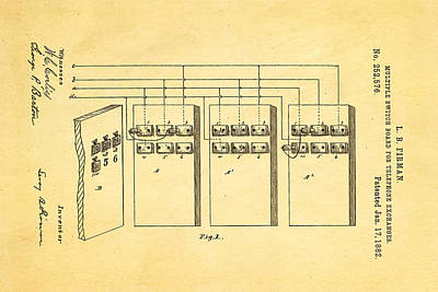Firman Telephone Exchange Patent Art 1882 Poster