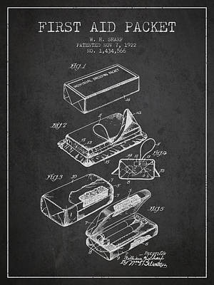 First Aid Packet Patent From 1922 - Charcoal Poster by Aged Pixel