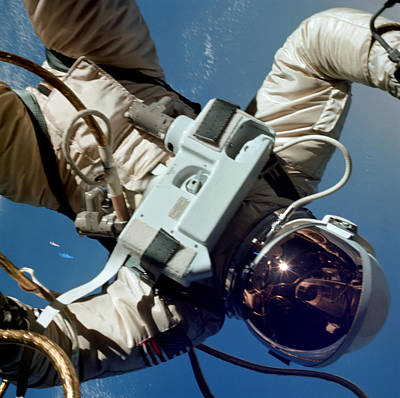 First American Spacewalk, Astronaut Ed Poster by Science Source