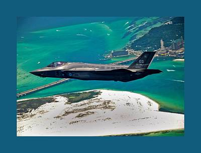 First F 35 Strike Fighter Headed For Service In Usaf Small Border Poster by L Brown