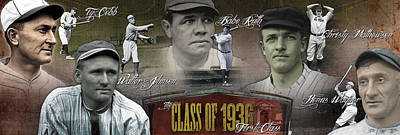 First Five Baseball Hall Of Famers Poster