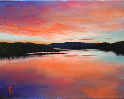 Poster featuring the painting Arkansas River Sunrise by Glenn Beasley