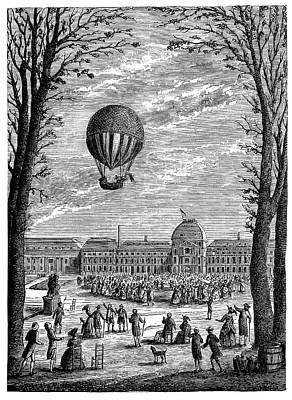 First Manned Hydrogen Balloon Poster by Science Photo Library