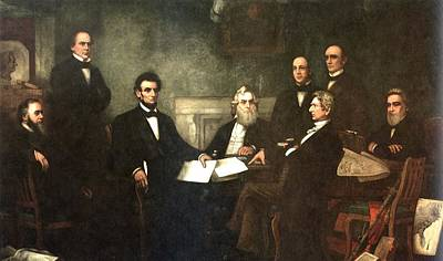 First Reading Of The Emancipation Proclamation Of President Lincoln Poster