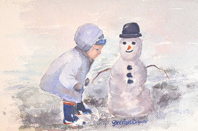 Poster featuring the painting First Snowman by Genevieve Brown