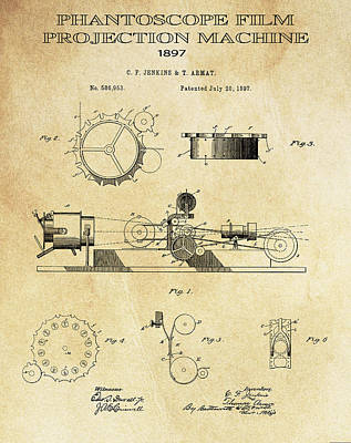 First True Motion Picture Projector Patent  1897 Poster by Daniel Hagerman