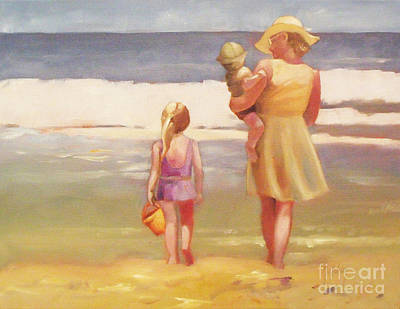 First Waves Beach Waves With Children And Mom  Poster by Mary Hubley