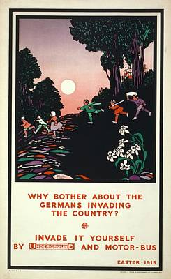 First World War London Underground Poster Poster by Library Of Congress
