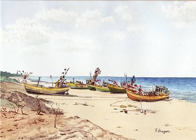 Fischerbootsanlegestelle Auf Der Ostsee Poster