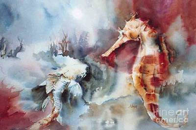 Fish And Sea Horse Poster by Donna Acheson-Juillet