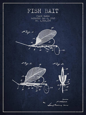 Fish Bait Patent From 1925 - Navy Blue Poster
