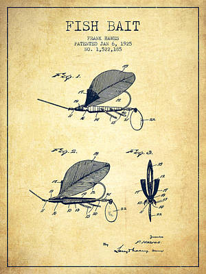 Fish Bait Patent From 1925 - Vintage Poster