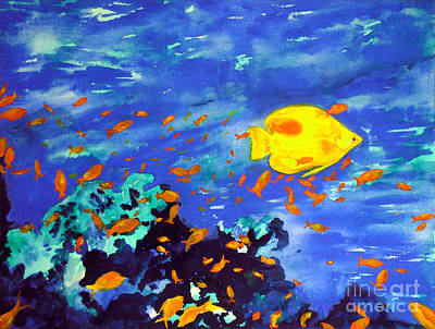 Poster featuring the painting Fish In The Sea by Mukta Gupta