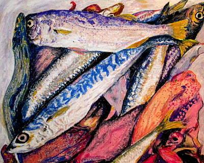 fish squid California painting Poster