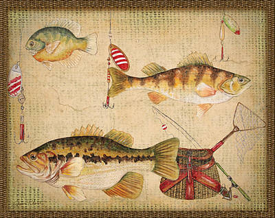 Fish Trio-a-basket Weave Border Poster by Jean Plout