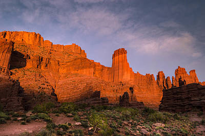Fisher Towers Sunset Poster by Michael J Bauer