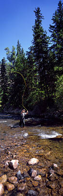 Fisherman Flyfishing In River Poster