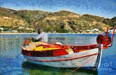 Fisherman In Ios Island Poster by George Atsametakis