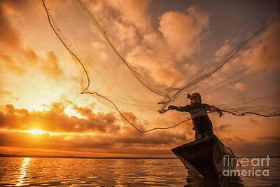 Fisherman Of Bangpra Lake  Poster by Anek Suwannaphoom