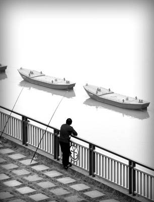 Fisherman Waiting Poster by Valentino Visentini