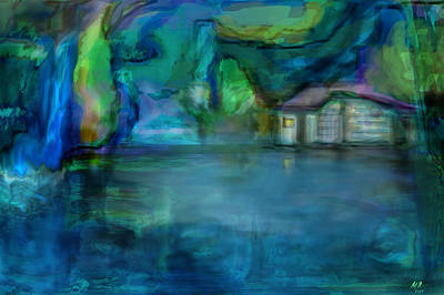 Poster featuring the digital art Fishermans Hut by Martina  Rathgens