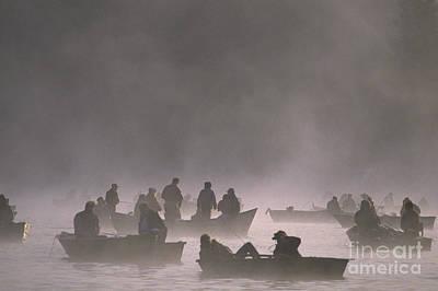 Fishermen On Small Lake Poster by Jim Corwin
