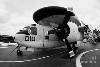 fisheye shot of Grumman E1B Tracer on display on the flight deck of the USS Intrepid e1 Poster by Joe Fox